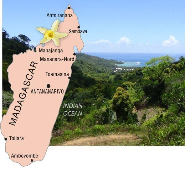 Karte von Madagaskar plus Landschaftsbild der Insel